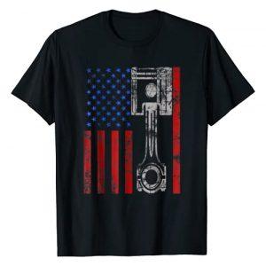 American Flag Piston Vintage Tee Shirts Graphic Tshirt 1 American Flag Piston Muscle Car Patriotic Vintage T-Shirt