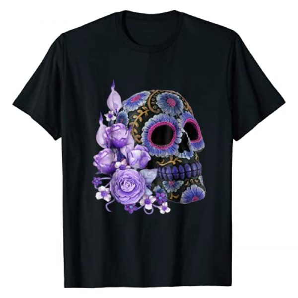 Atteestude Graphic Tshirt 1 Purple Floral Black Sugar Skull Day Of The Dead T Shirt