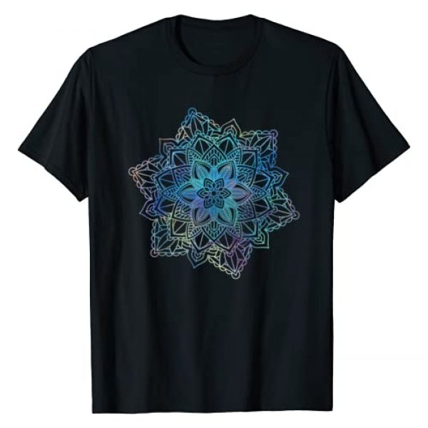 Fractal Mandala Sacred Geometry Yoga Graphic Tshirt 1 Watercolor Mandala Sacred Fractal Geometry Art Good Vibe T-Shirt