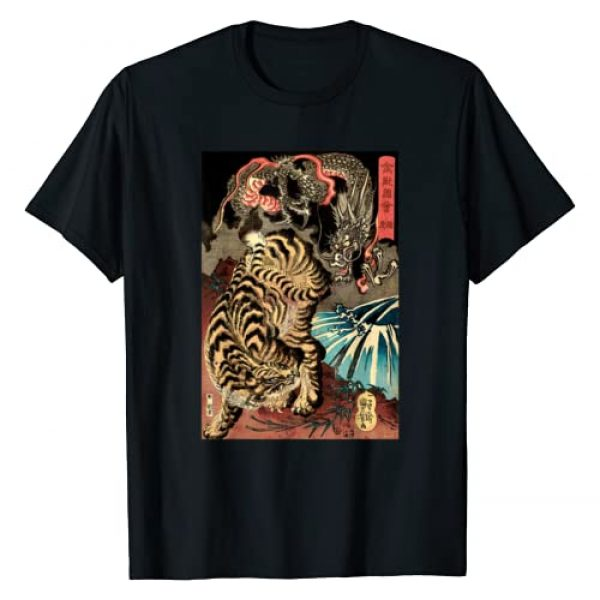 Japanese Retro Clothing Co Graphic Tshirt 1 Retro Vintage Dragon Fighting The Giant Tiger Japanese T-Shirt