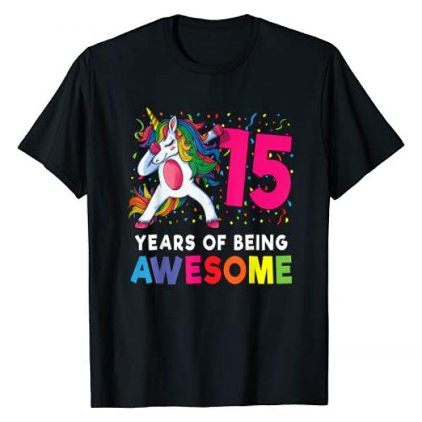 Dabbing Unicorn Birthday Gifts By SSA Apparel Graphic Tshirt 1 15th Birthday Dabbing Unicorn Party Gift 15 Years Old Girls T-Shirt