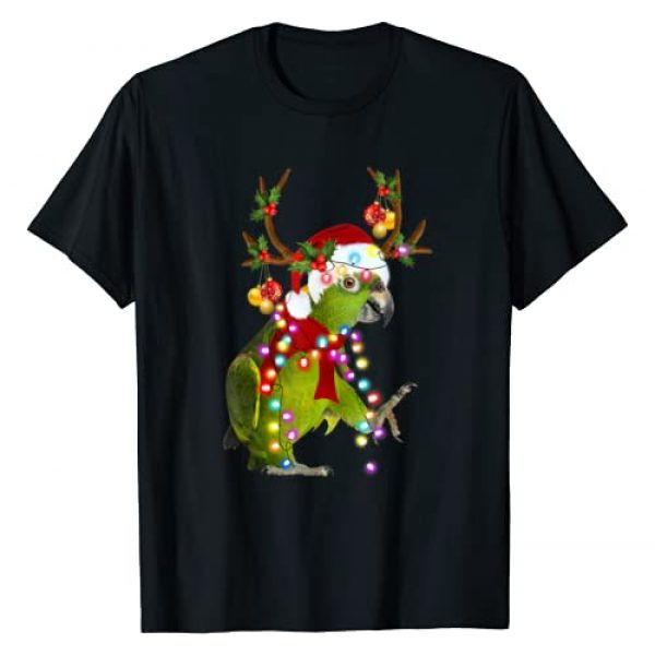 Xmas Parrot Funny Reindeer Parrot Lover Apparel Graphic Tshirt 1 Funny Parrot With Reindeer Horn Funny Christmas Parrot T-Shirt