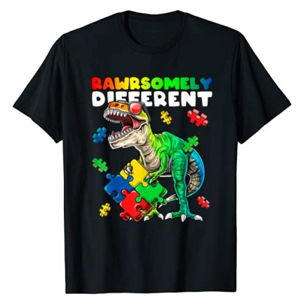 Autism Awareness Dinosaur Apparel Graphic Tshirt 1 Rawrsomely Different Dinosaur Autism Awareness Puzzle Gift T-Shirt