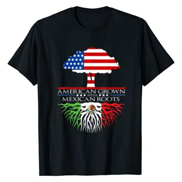 Mexican American Gifts Graphic Tshirt 1 Mexican Roots American Grown Tree Flag USA Mexico T-Shirt