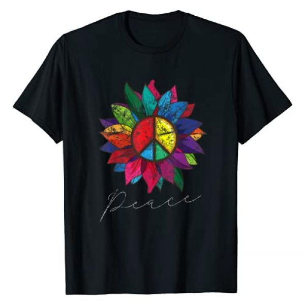 InGENIUS Floral Peace Sign Shirts Graphic Tshirt 1 Sunflower Flower Distressed Rainbow Peace Sign 70s Shirt T-Shirt
