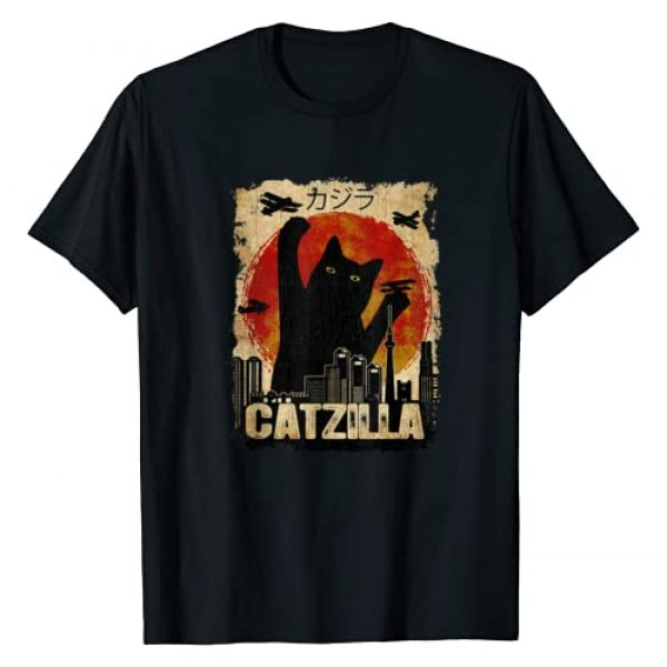 Funny Cat Tee for Kids, Men and Women Graphic Tshirt 1 Vintage Catzilla tee - Funny Kitten and Cat T-Shirt