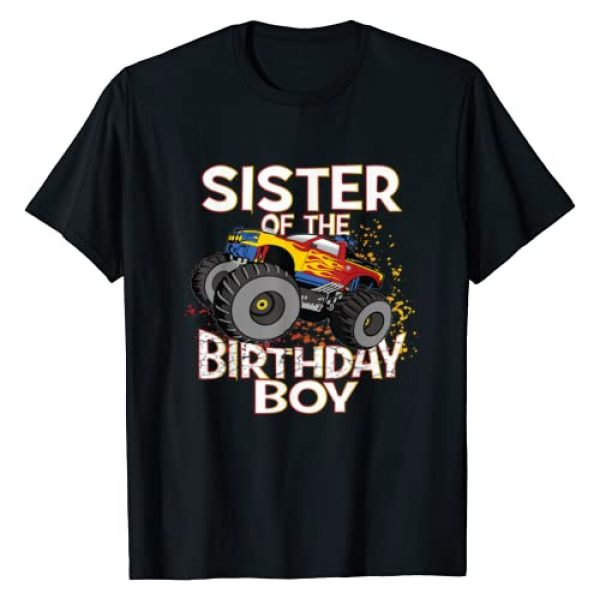 Kids Monster Trucks Birthday Matching Family Gifts Graphic Tshirt 1 Sister Of The Birthday Boy Monster Truck Boys Party T-Shirt