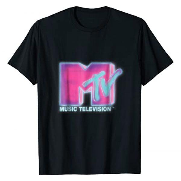 MTV Graphic Tshirt 1 Classic MTV Pink And Blue Neon Logo T- Shirts