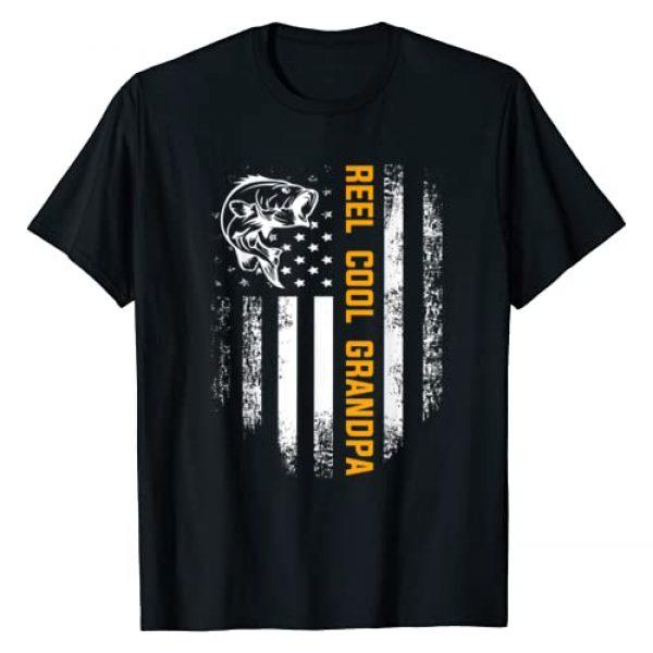 Fishing Loves Shirt Gift Graphic Tshirt 1 Reel Cool Grandpa T-Shirt Vintage Flag Fishing Father's Day