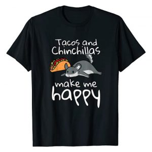 Funny Chinchilla Clothing Graphic Tshirt 1 Tacos And Chinchillas Make Me Happy Funny Pet T-Shirt