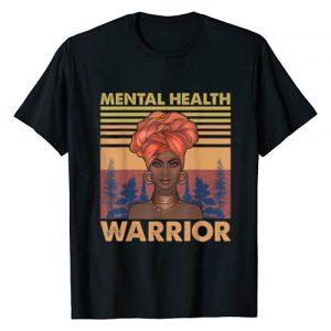 Afro-African Black Woman Mental Health Warrior Graphic Tshirt 1 Mental Health Matters Black Woman Therapist Psychologist T-Shirt