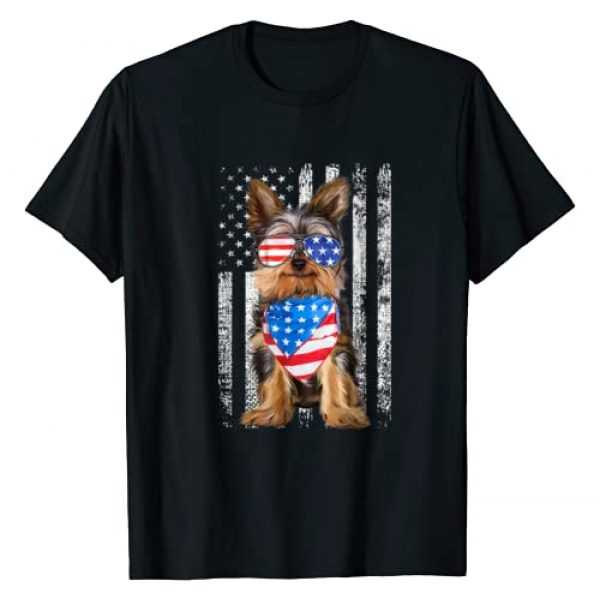 Yorkie Independence Day USA Flag Funny Shirt Gift Graphic Tshirt 1 Yorkshire American Flag Patriotic Yorkie Dog 4th Of July Tee T-Shirt
