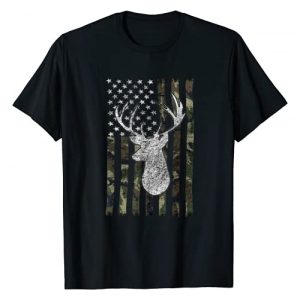 Whitetail Buck Deer Hunting Hunter Gift Graphic Tshirt 1 Whitetail Buck Deer Hunting American Camouflage USA Flag T-Shirt