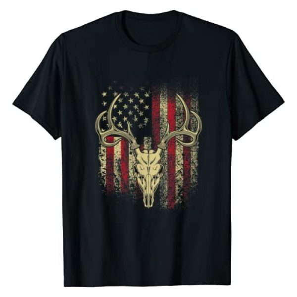 Deer Hunting Shirts and Gifts Graphic Tshirt 1 Deer Hunters Deer Skull on American Flag T-Shirt