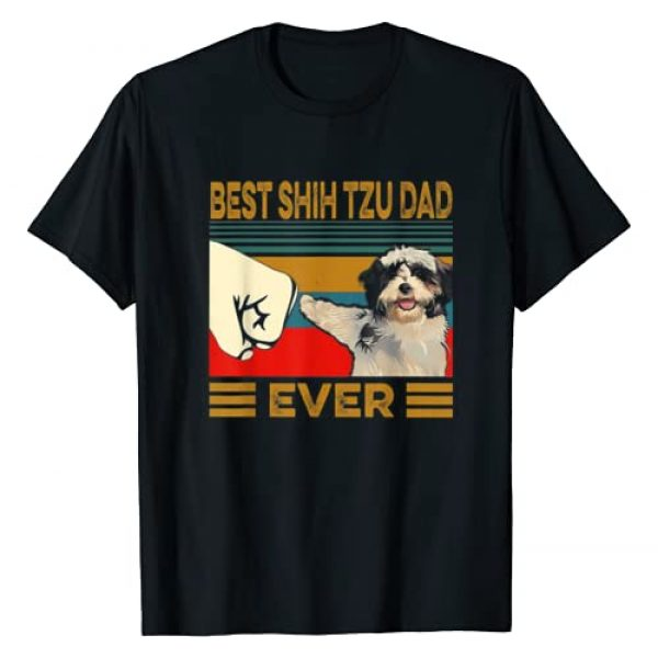 Funny Shih Tzu Lover Tee Shirt For Men Graphic Tshirt 1 Best Shih Tzu Dad Ever Retro Vintage T-Shirt