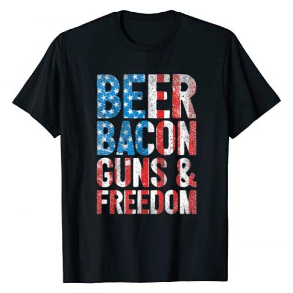 Gun Control & Puns Co Graphic Tshirt 1 Beer Bacon Guns & Freedom USA American Flag 2nd Amendment T-Shirt