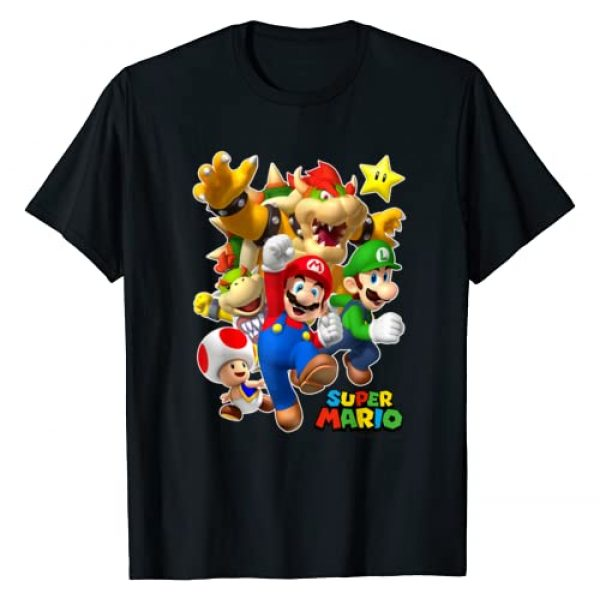 SUPER MARIO Graphic Tshirt 1 Group Shot With Bowser 3D Poster T-Shirt