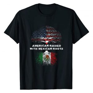 American Raised Mexican Roots US Flag Tee Co. Graphic Tshirt 1 American Raised with Mexican Roots USA Flag T-Shirt