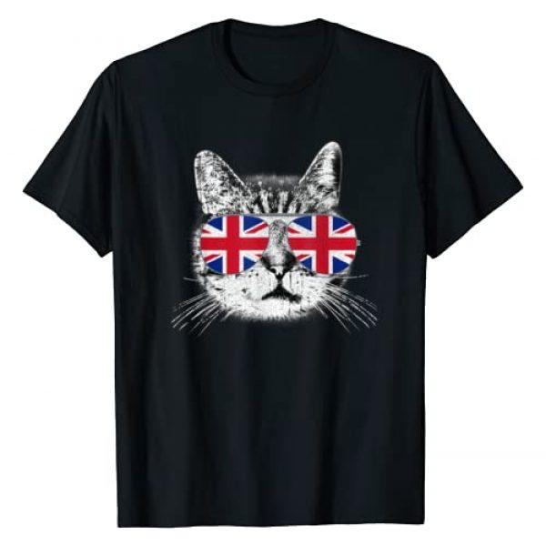 The UK Flag England Cat Shirt Gift Graphic Tshirt 1 UK Union Jack British Flag England Cat Sunglasses T-Shirt T-Shirt