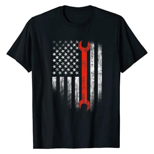 American Flag Mechanic Wrench Patriotic Graphic Tshirt 1 Auto Techs Motor T-Shirt