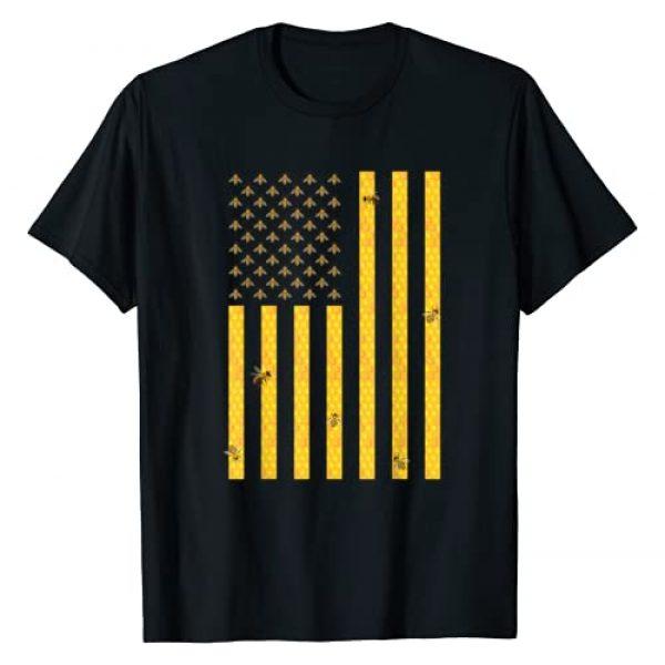 Parabolic Bees Graphic Tshirt 1 American Flag Honeycomb Honey Bee Beekeeping Beekeeper Gift T-Shirt