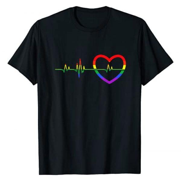 Gay Pride Rainbow Pride Month LGBT Quotes Graphic Tshirt 1 Rainbow Heartbeat LGBTQ T-Shirt