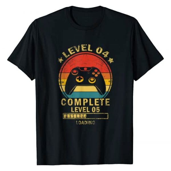 Video Gamer Vintage 4th Birthday Gifts Graphic Tshirt 1 Level 4 complete level 5 loading gamers 4th Birthday Gift T-Shirt