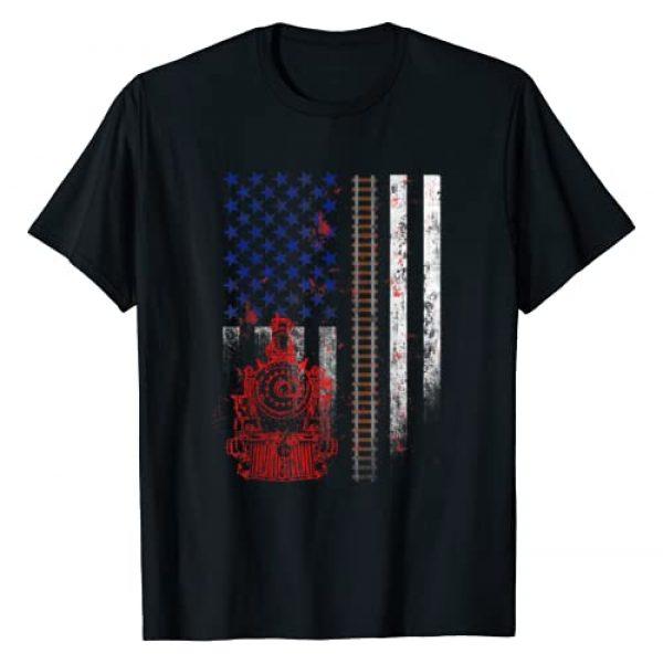 Railroad Tracks USA Flag Gift Graphic Tshirt 1 Railroad Tracks USA Flag Gift T-Shirt