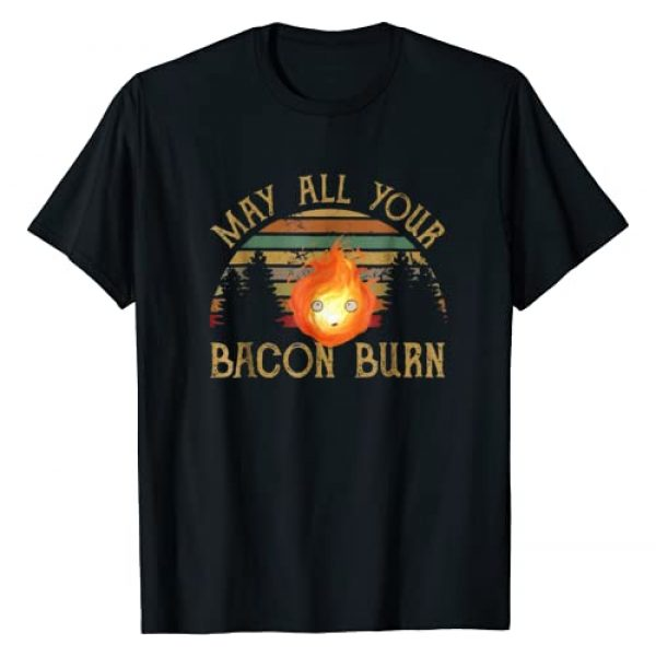 Funny Grill BBQ Lover Fire Shirt Gift Graphic Tshirt 1 Vintage Retro May All Your Bacon Burn T Shirt for Women Men