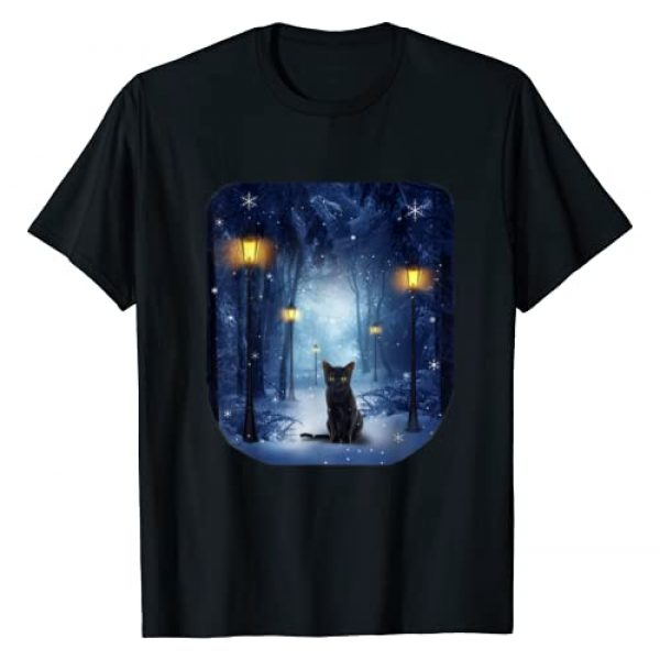 Cat Graphic Tshirt 1 Black Cat in Snowy Forest T-Shirt Cats Tee Shirt Gifts
