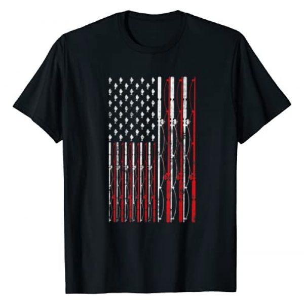 Who love Fishing Fisherman Graphic Tshirt 1 Fishing Rod American Flag Funny Vintage Fishing T-Shirt