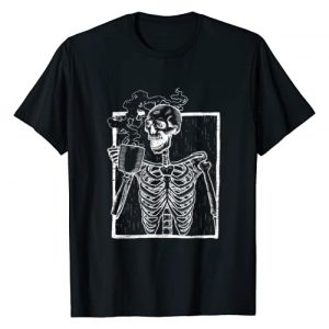 Vintage Coffee Horror Gifts and Scary Designs Graphic Tshirt 1 Distressed Skeleton Vintage Smiling Skull drinking Coffee T-Shirt