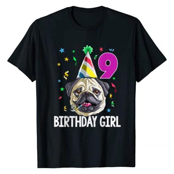 Pug MM Co Graphic Tshirt 1 Pug Birthday Girl 9th 9 T Shirt Kids Girls Gift Idea Party T-Shirt