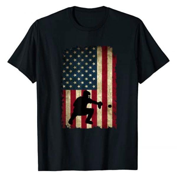 Baseball Lovers Shirts Gifts & Apparel Graphic Tshirt 1 Baseball Catchers Gear Sports American Flag Little Leaguer T-Shirt