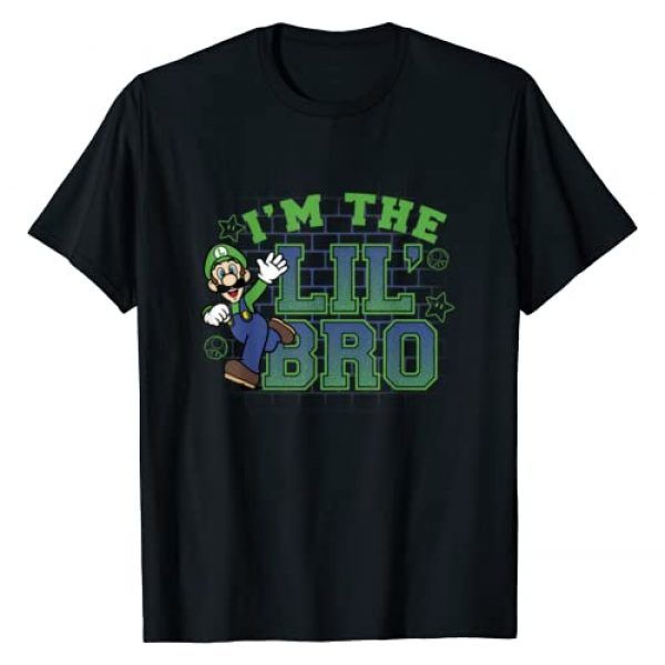 SUPER MARIO Graphic Tshirt 1 I'm the Lil' Bro Luigi Action Pose Green Text T-Shirt