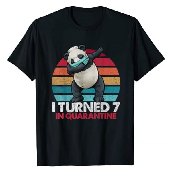 Dabbing Panda Vintage Birthday Shirts By Hannah Graphic Tshirt 1 I Turned 7 In Quarantine Dabbing Panda 7th Birthday Kids T-Shirt