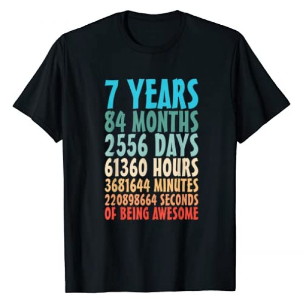 Turning 7 Yr Old Seventh Birthday Countdown Gift Graphic Tshirt 1 7 Years Of Being Awesome 84 Months 7th Birthday 7 Years Old T-Shirt