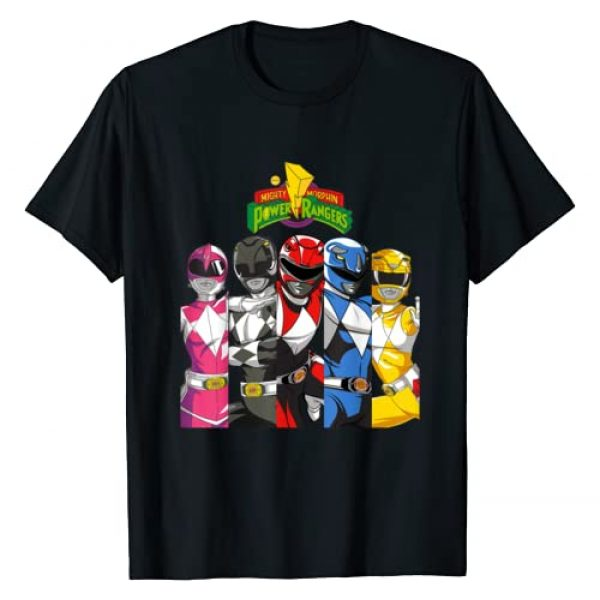 Power Rangers Graphic Tshirt 1 All Rangers In Separate Panels With Logo T-Shirt