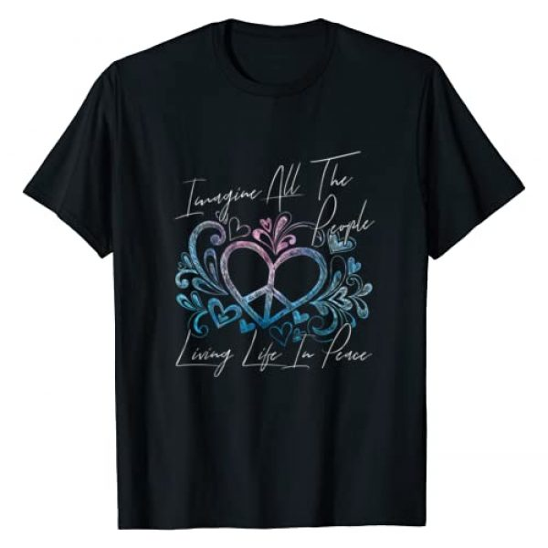 Imagine People Living Peace Life - DressedForDuty Graphic Tshirt 1 Imagine Hippie People Living Life in Peace and Love Shirt