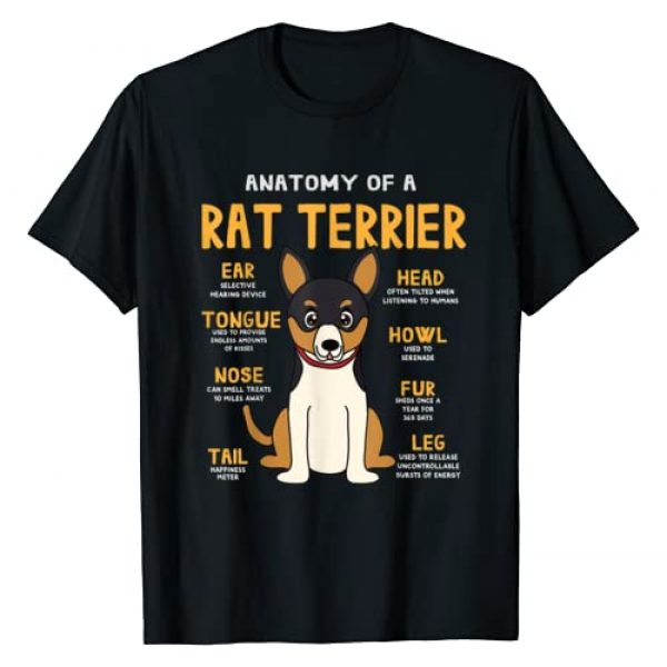 Rat Terrier Funny Gifts Co Graphic Tshirt 1 Rat Terrier Anatomy Funny Dog Mom Dad Gift T-Shirt