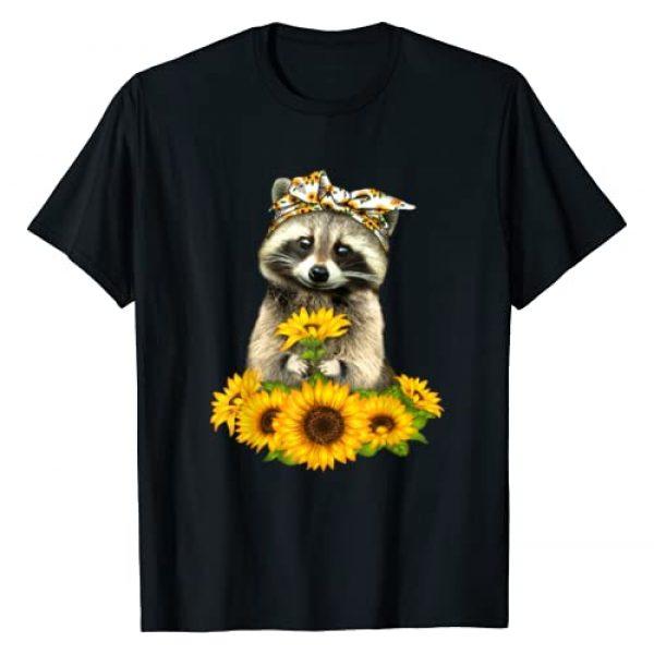 Raccoon sunflower, funny Raccoon sun flower bow Graphic Tshirt 1 banadas