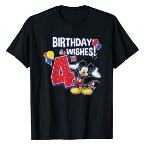 Disney Graphic Tshirt 1 Mickey And Friends Mickey Mouse 4th Birthday Wishes T-Shirt