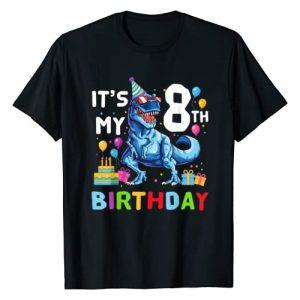 Happy Birthday Kids Dinosaur Lover Shirt Graphic Tshirt 1 Kids It's My 8th Birthday Happy 8 Year T-Rex Shirt T-Shirt