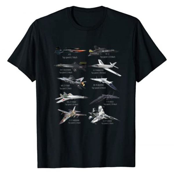 Military F&L Design Co. Graphic Tshirt 1 Military's Fastest Jet Fighters Aircraft Plane of the World T-Shirt