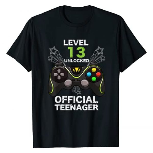 Cute 13th Year Old Youngster Teen Gamer Humor Art Graphic Tshirt 1 Funny Level 13 Unlocked Official Teenager Cool Birthday Gift T-Shirt