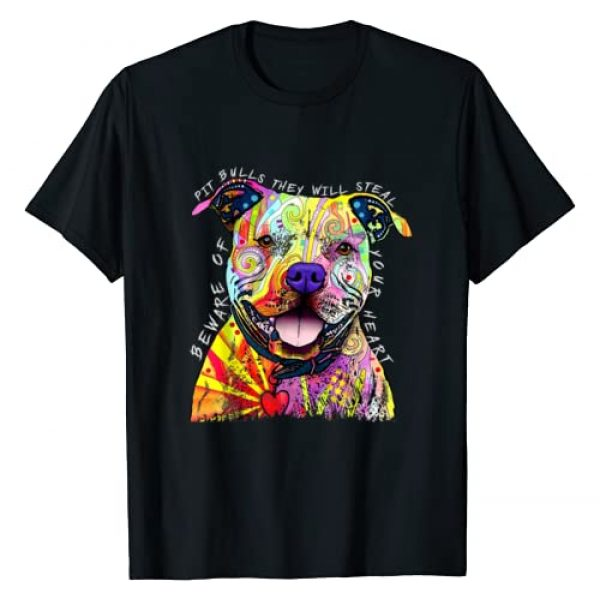 Pitbull Dog Lover Tee Graphic Tshirt 1 Beware of Pit Bulls, They Will Steal Your Heart Funny Dogs T-Shirt