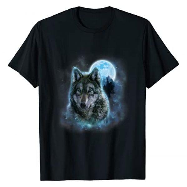 Fox Republic T-Shirts Graphic Tshirt 1 T-Shirt, Grey Wolf Hunting Ground, Icy Moon, Forest, Galaxy