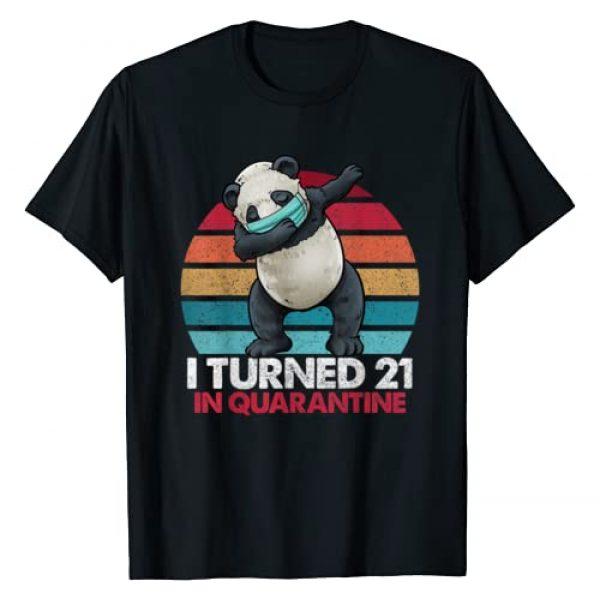 Dabbing Panda Vintage Birthday Shirts By Hannah Graphic Tshirt 1 I Turned 21 In Quarantine 2020 Dabbing Panda 21st Birthday T-Shirt
