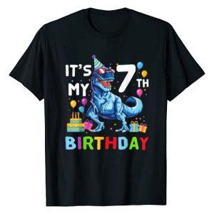 Happy Birthday Kids Dinosaur Lover Shirt Graphic Tshirt 1 Kids It's My 7th Birthday Happy 7 Year T-Rex Shirt T-Shirt