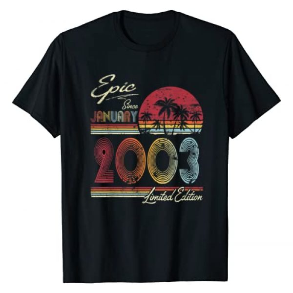 Vintage January 2003 17th Birthday Gift Shirt Graphic Tshirt 1 Epic Since January 2003 17th Birthday Gift 17 Years Old T-Shirt
